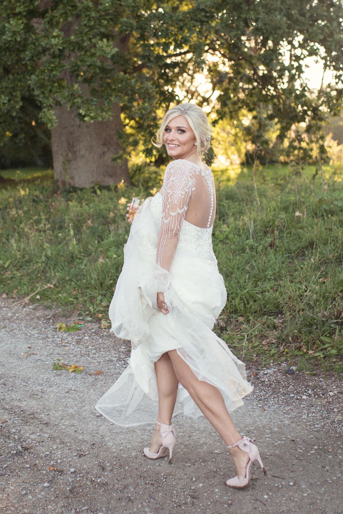 bride dress hitched natural chilston park wedding photographer