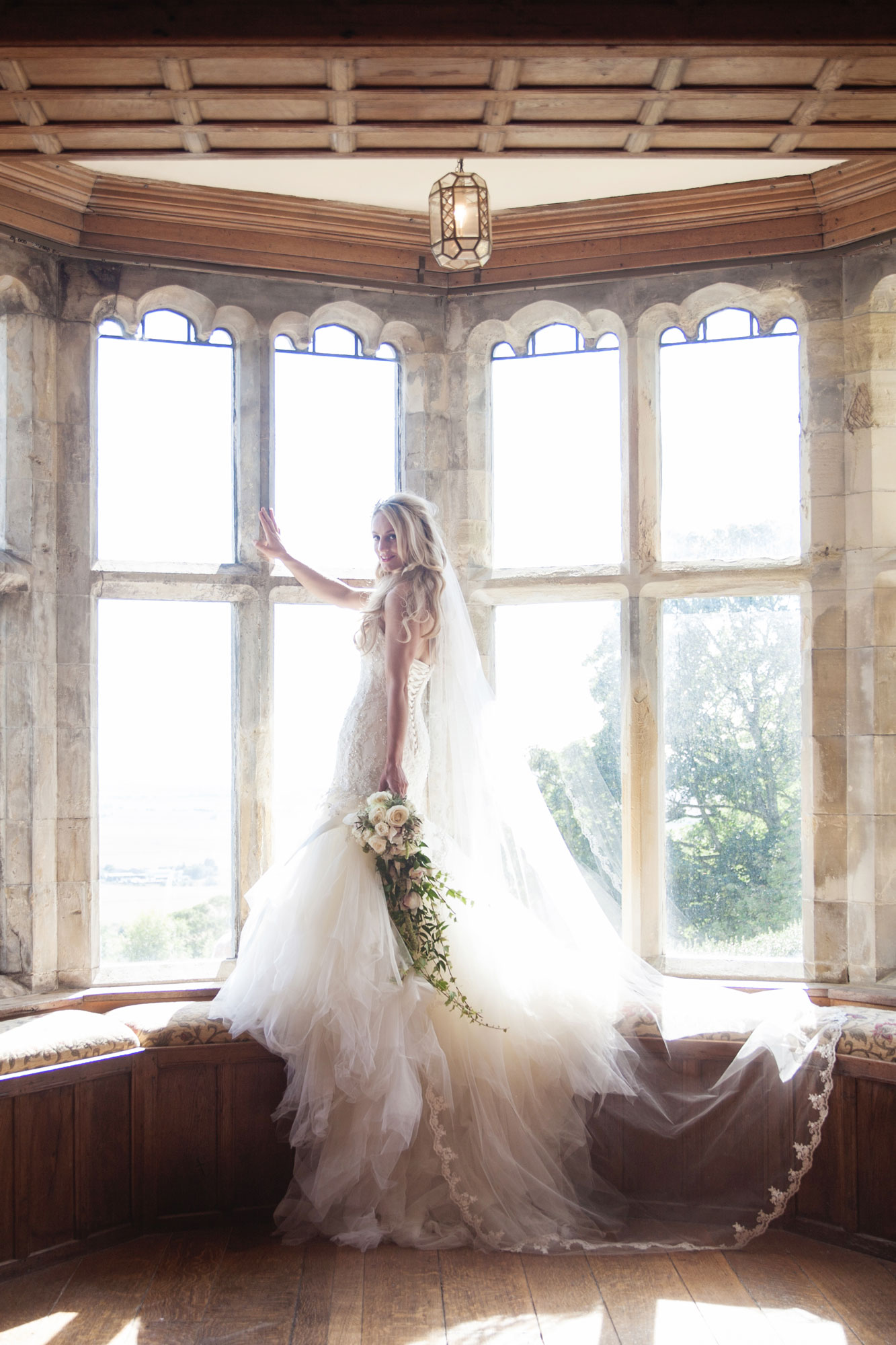 lympne castle bay window with bride