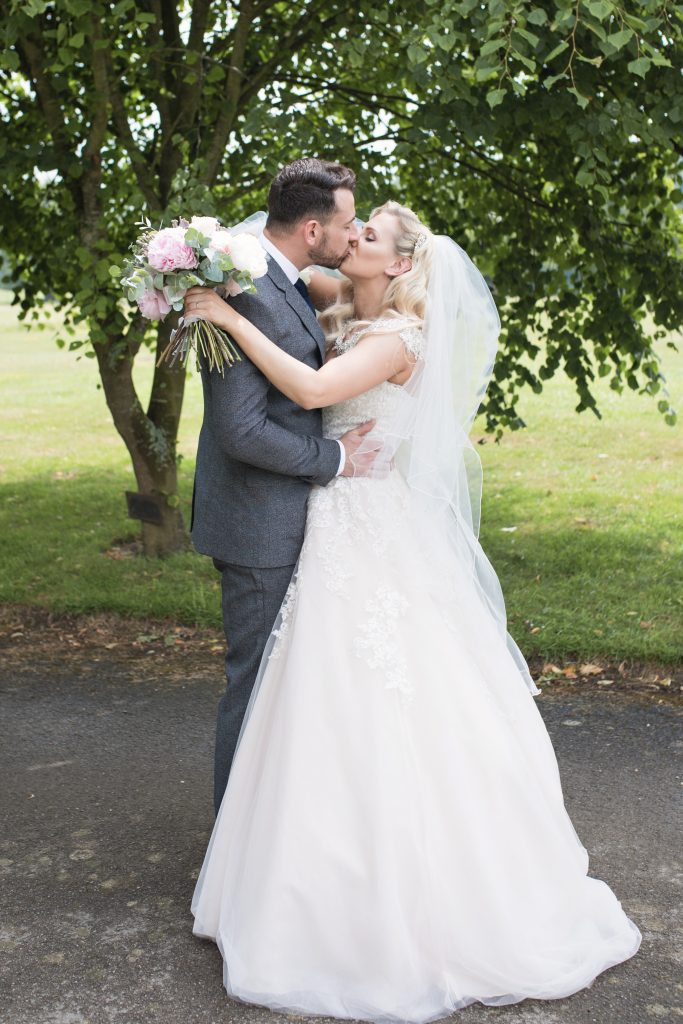 bride and groom chilston park
