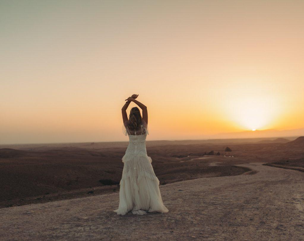 bride at sunrise in morocco