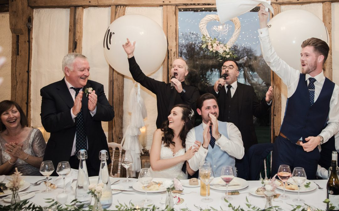singing waiters winters barns wedding venue kent