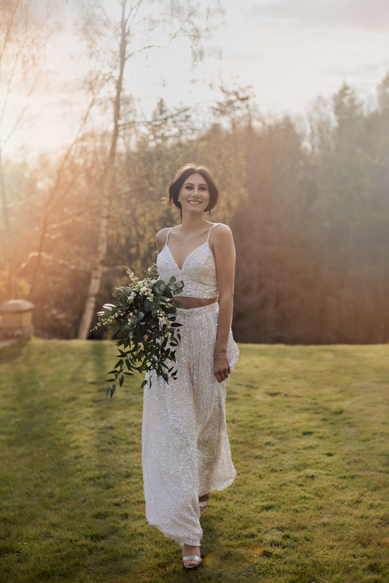 white sequin bridal two piece