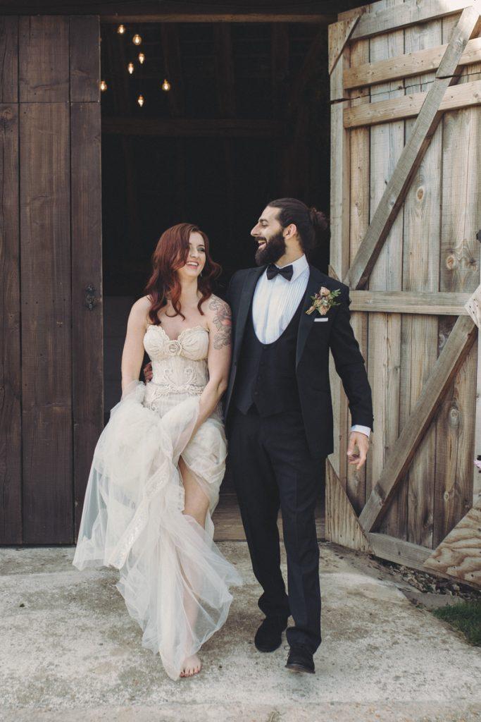 barefoot bride leaving wedding