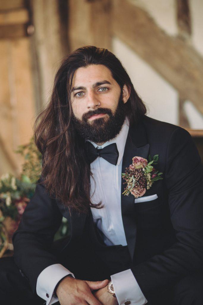 long hair groom with beard