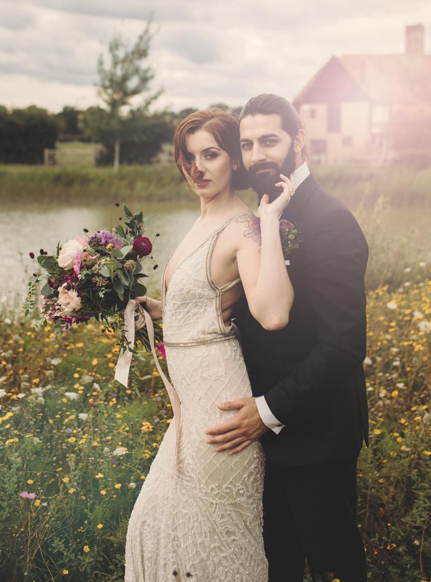 wedding couple english meadow