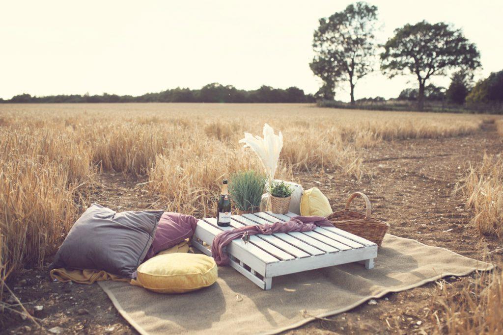picnic setup in woodland