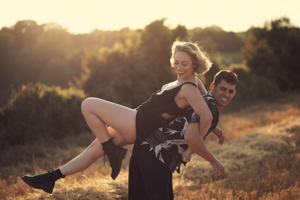 golden hour fun pre wedding engagement shoot