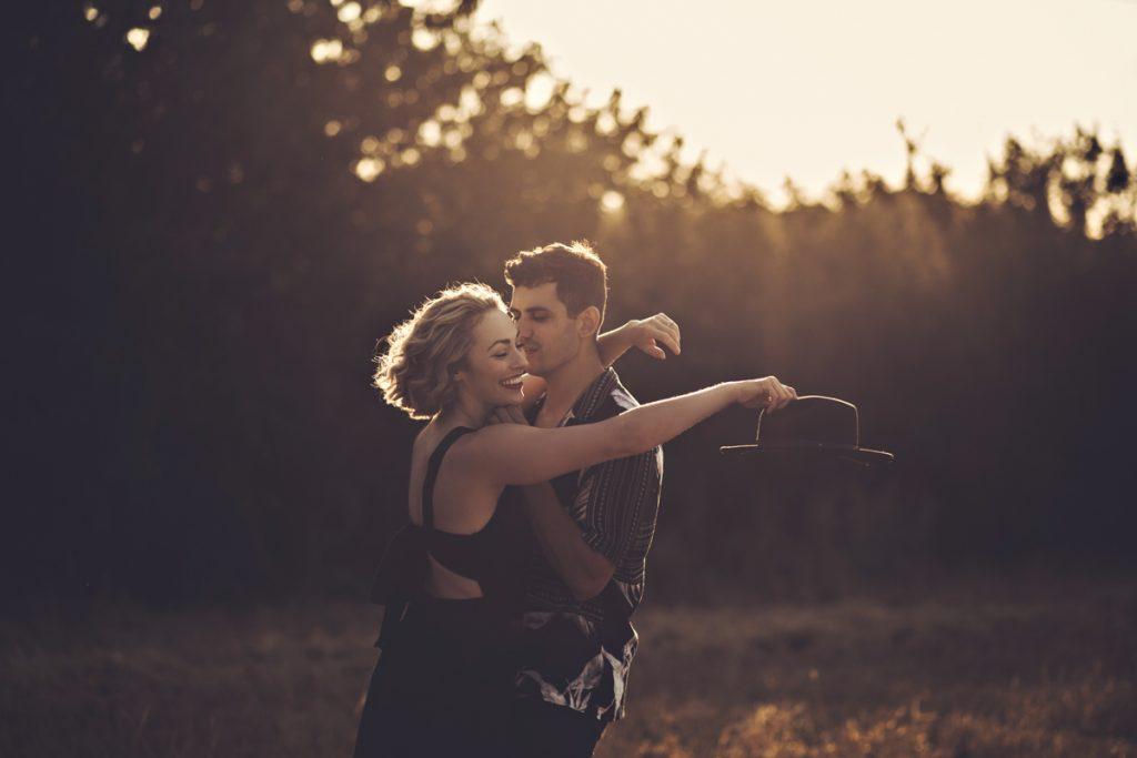 engagement photo shoot woodland golden hour