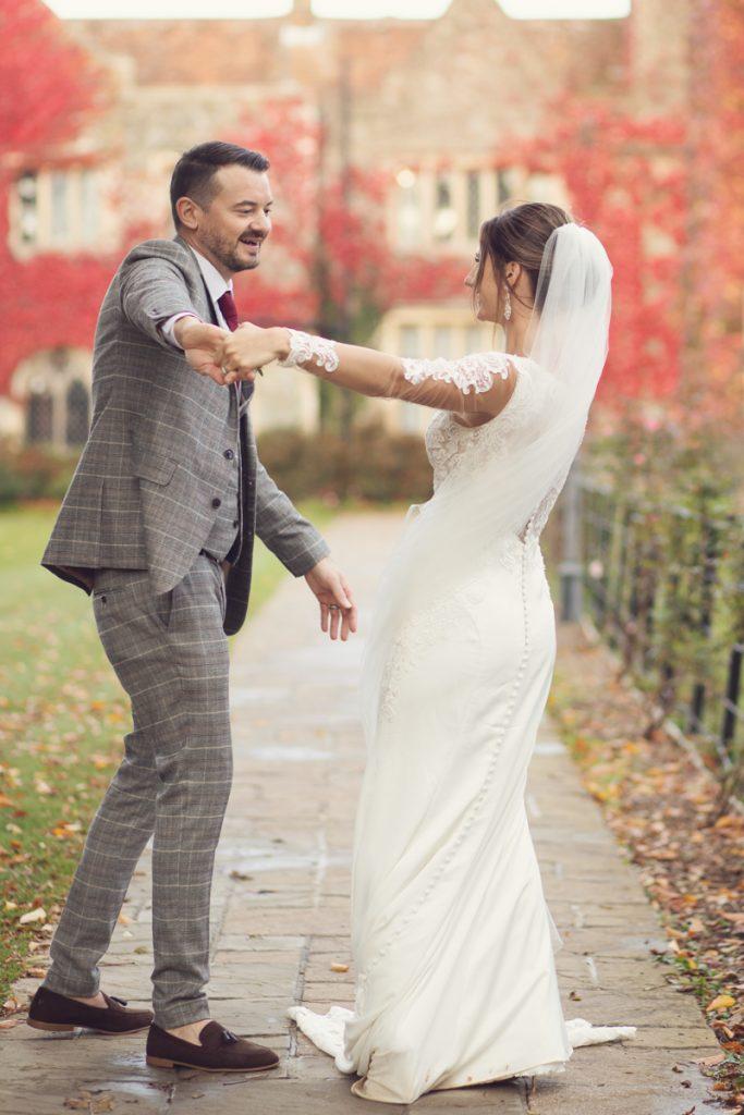 eastwell manor wedding couple dancing