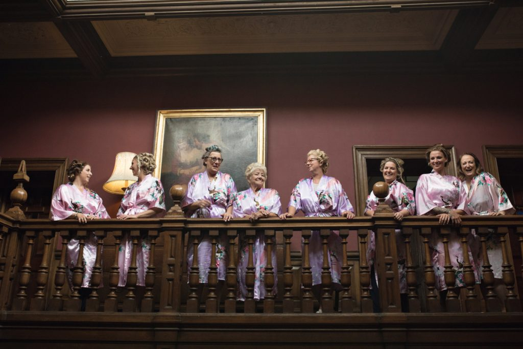 bridesmaids in robes chilston park