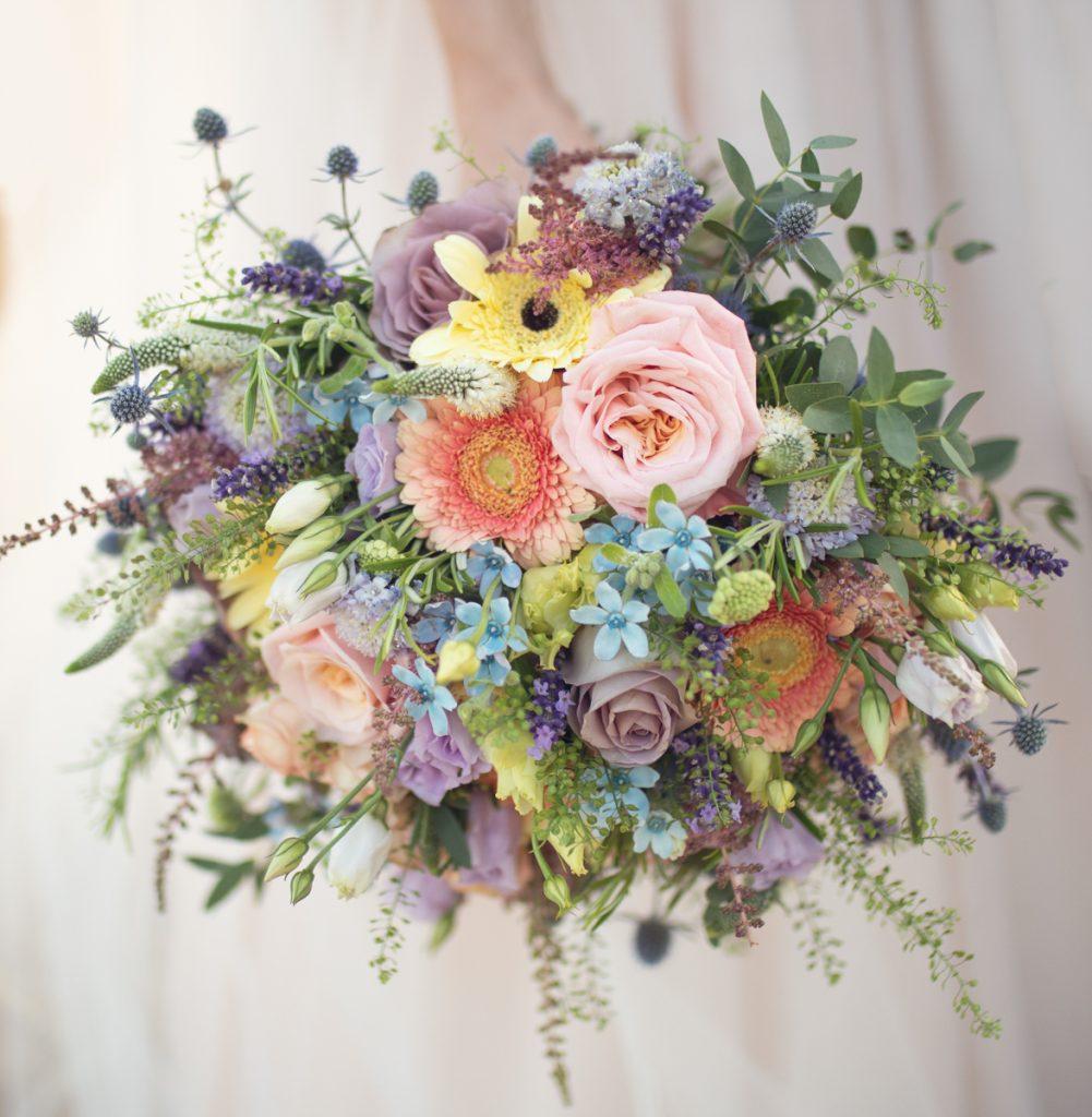 pastel ice cream colour colourful wedding bouquet
