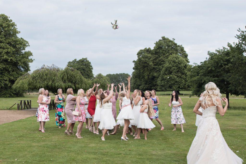 bridesmaids catching bouquet chilston park