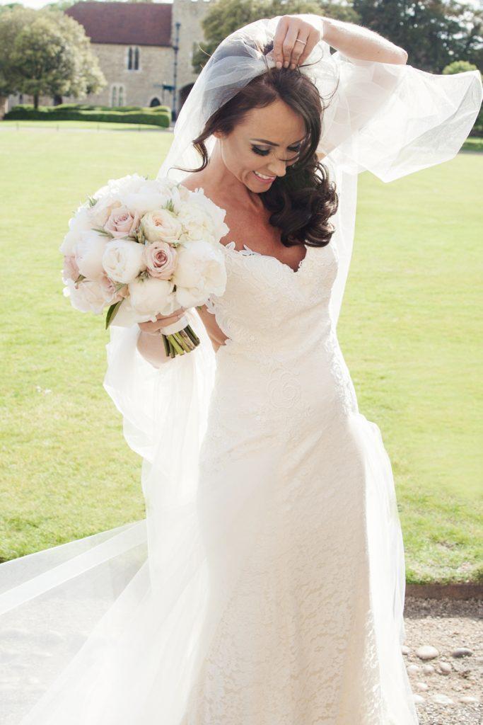 bride with veil leeds castle