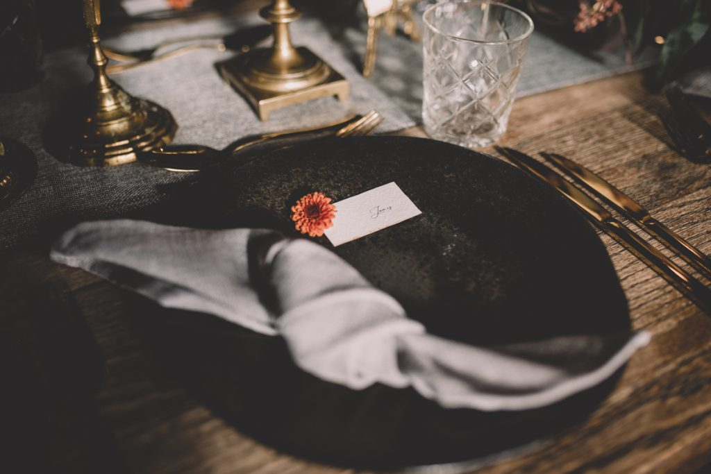 black and grey wedding table setting