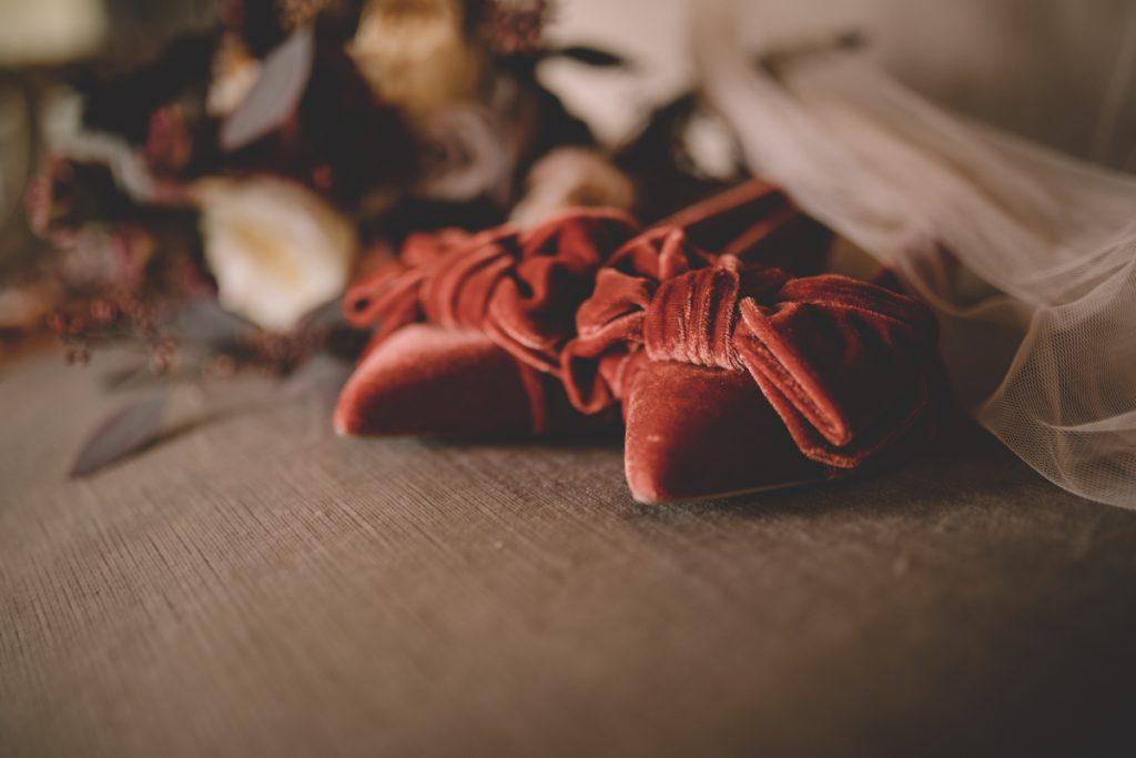 orange velvet wedding shoes