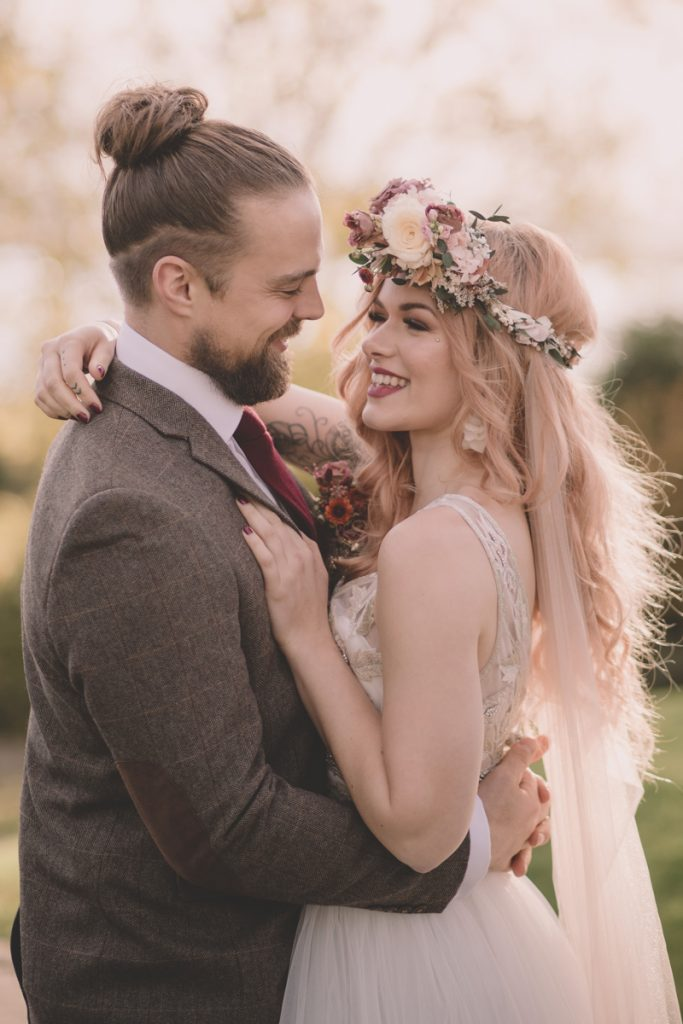 wedding couple bride with flower crown