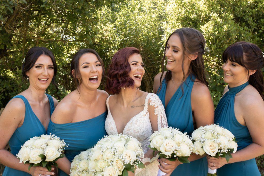 bride and bridesmaids the gardens yalding
