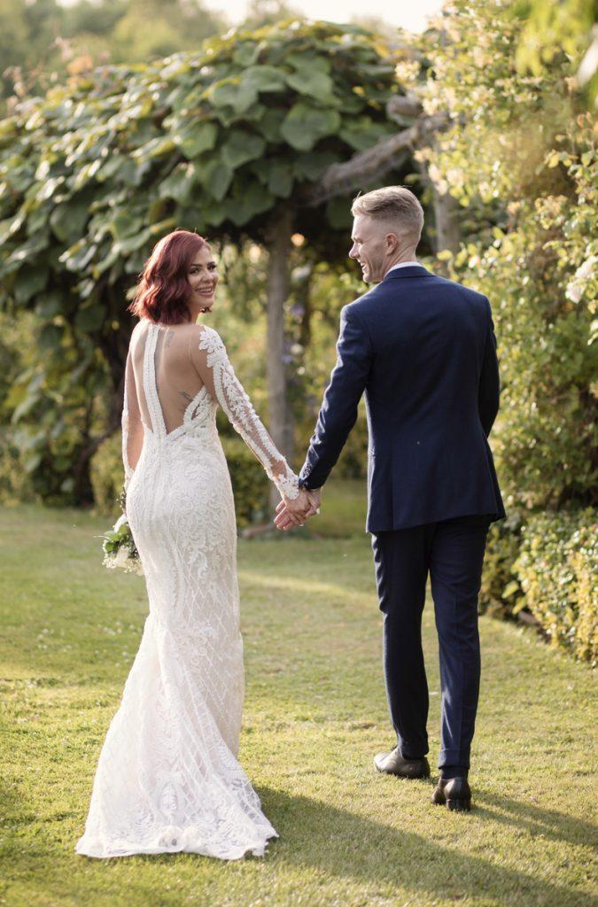 bride and groom the gardens yalding