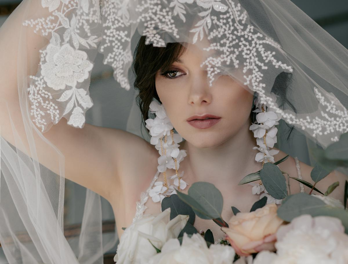 editorial bridal portrait statement earrings